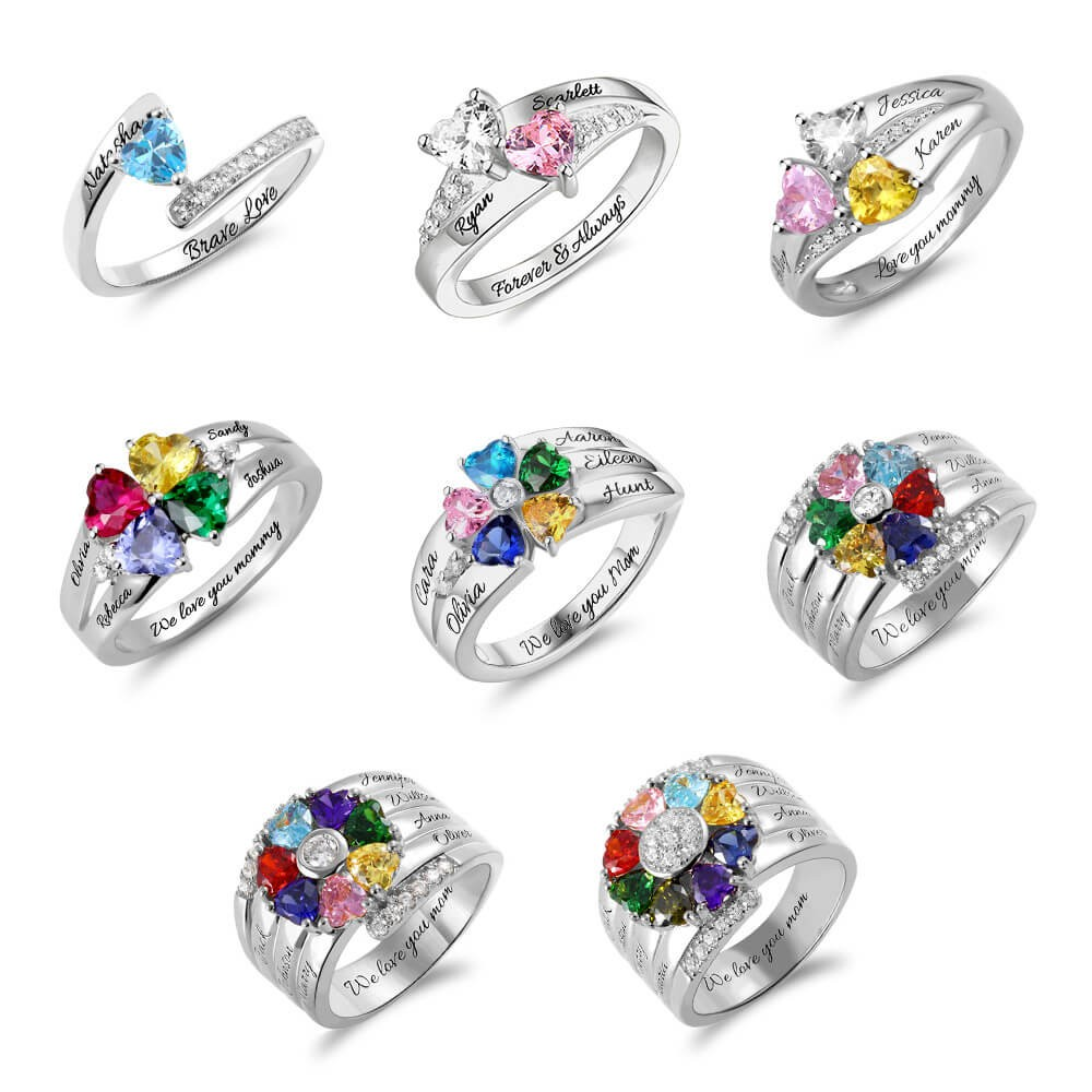 Engraved Heart-Shaped Birthstones Ring with 1-8 Names
