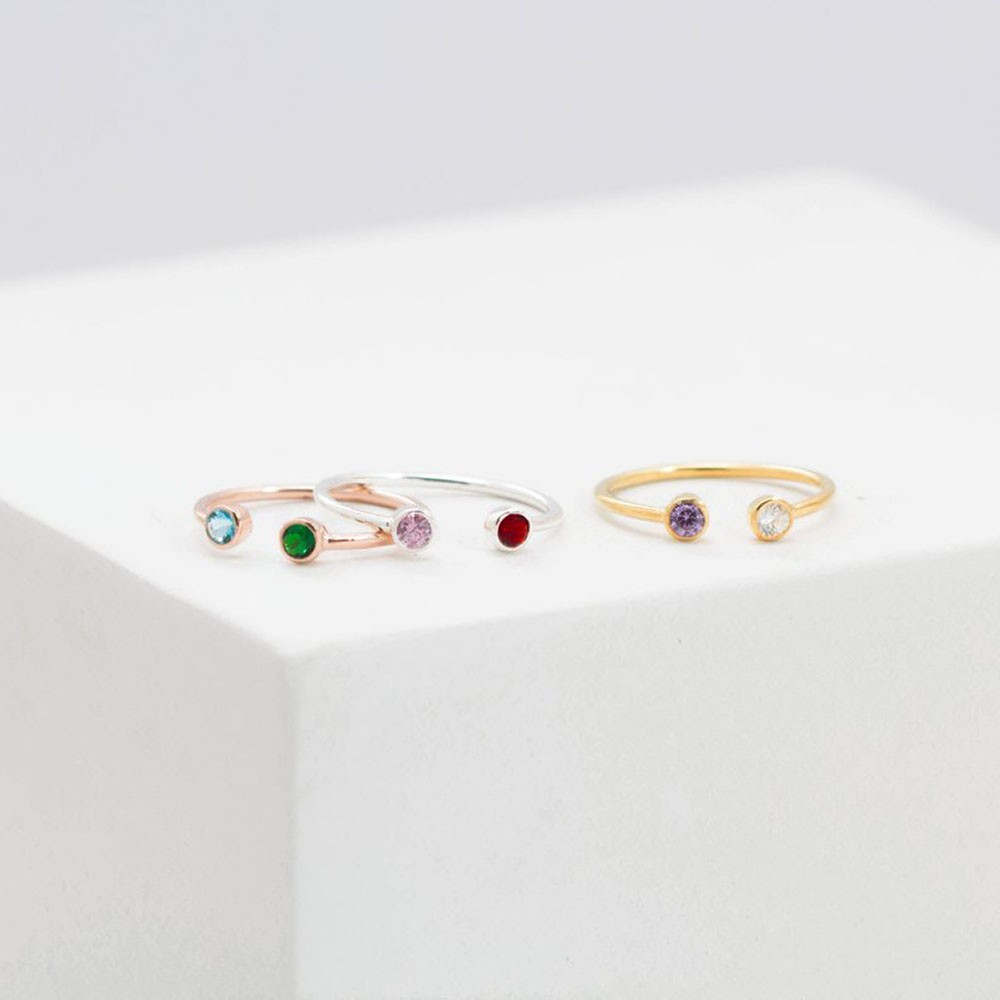 Dual Birthstone Ring   Mothers Ring    Personalized Birthstone Ring   Couples Ring