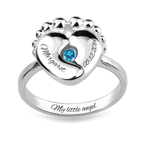 Birthstone Ring For New Mom With Engraved Baby Name   Birth Date