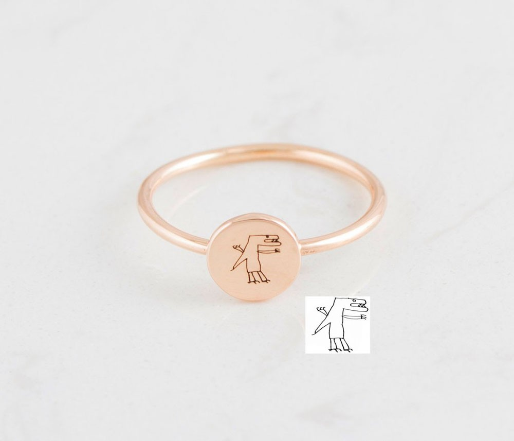 Memorial Handwriting Disc Ring   Actual Handwriting Band Ring   Gifts For Mom