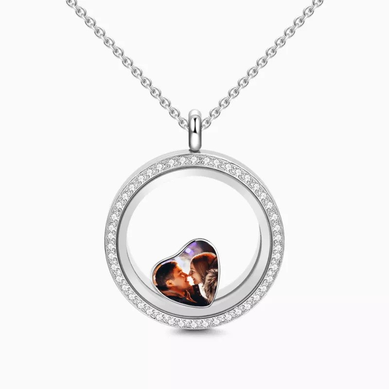 Crystal Round Floating Locket Necklace With Heart Photo Charm