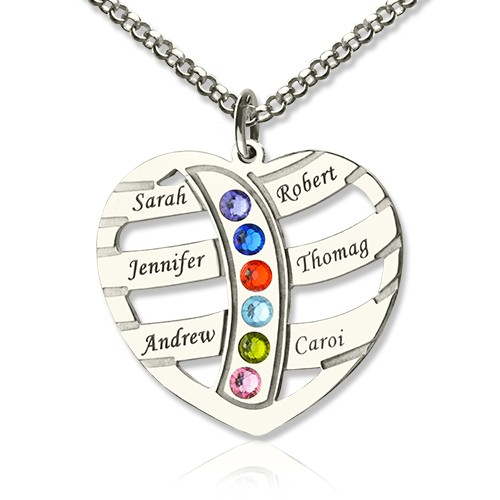Moms Birthstone Necklace With 1-6 Kids Name