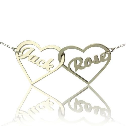 Double Heart Love  Name Necklace