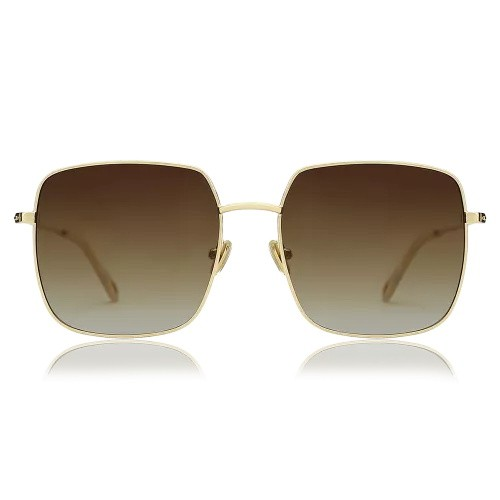 Square Sunglasses With Coffee Lenses And Golden Frame