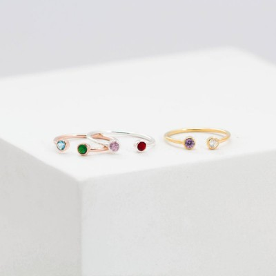 Dual Birthstone Ring | Mothers Ring  | Personalized Birthstone Ring | Couples Ring