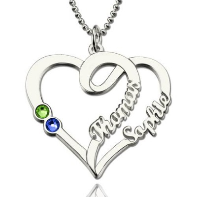 Couple Heart Names Necklace With Birthstones