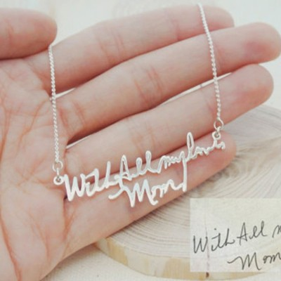 S925 Silver Personalized Handwriting Necklace