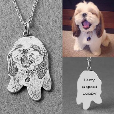 Custom Pet Photo Engraved  Necklace