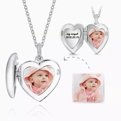 Engraved Heart Photo Locket Necklace