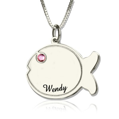 Fish Birthstone Necklace Engraved Name