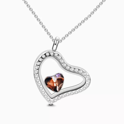 Crystal Heart Floating Locket Necklace With Heart Photo Charm