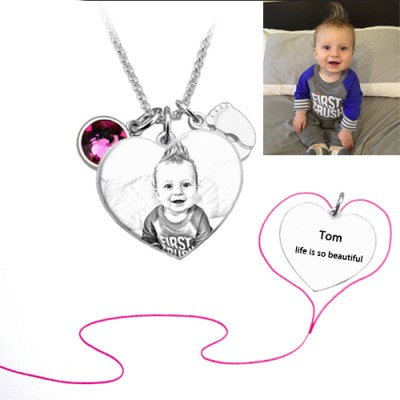 Heart Shaped Photo Necklace With Baby Feet