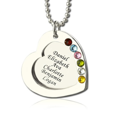 Engravable Heart Family Names Necklace With 1-6 Birthstones