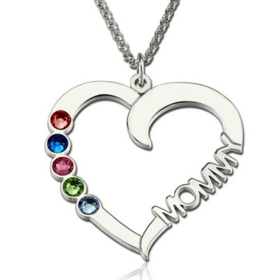 Personalized 1-5 Birthstones Heart Necklace With Name