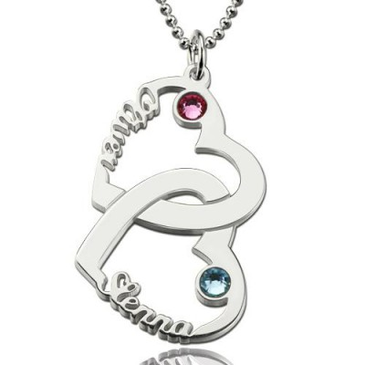 Heart In Heart Names Necklace With Birthstones