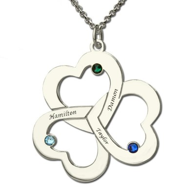 Heart Name And Birthstone Necklace