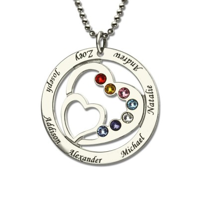 Personalized Double Heart Necklace with 1-7 Birthstones and Name