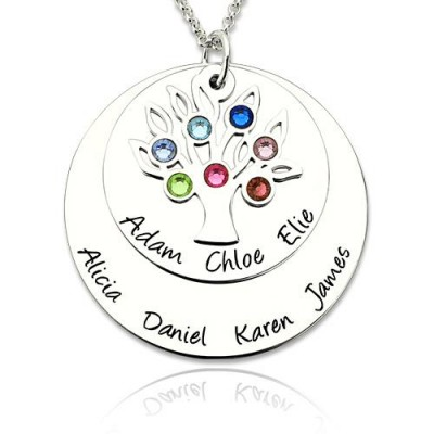 Personalized Family Tree Necklace with 1-7 Birthstones