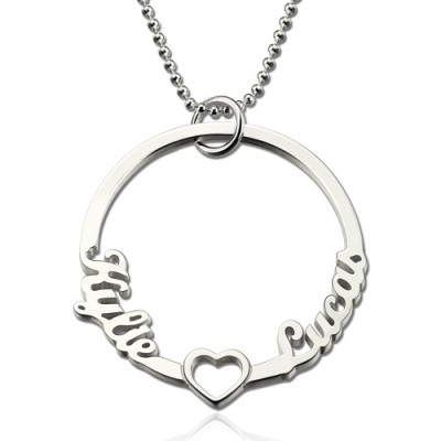 Personalized Circle Lovers Names Necklace With Heart Sterling Silver