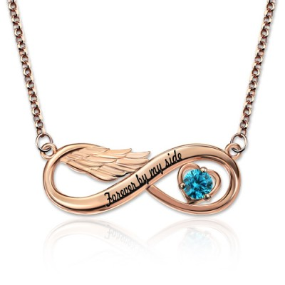 Infinity Angel Wing Necklace With Birthstone