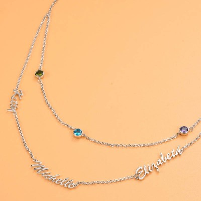 Personalized Layered Name Necklace With Birthstones 1-6 Names
