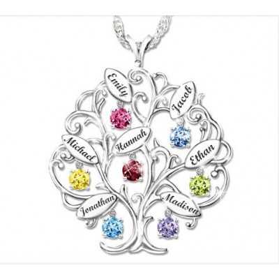 Personalized Tree-Design Family Necklace With 1-7 Names And Birthstones