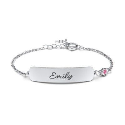 Engravable Baby Bracelet with Birthstone