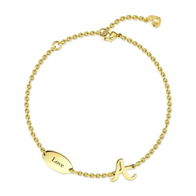 Initial Name Bracelet 14k Gold Plated