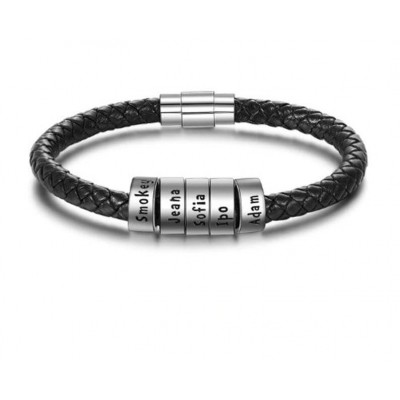 Personalized Black Leather Bracelet With 1-10 Beads