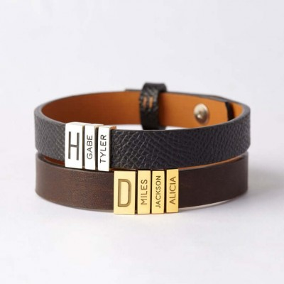Personalized Leather Beads Bracelet With Dad And Children's Name Engraving