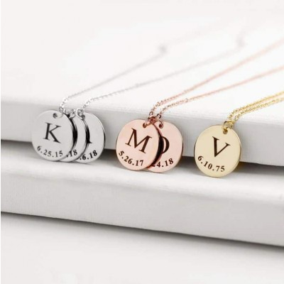 Initial Date Disc Necklace