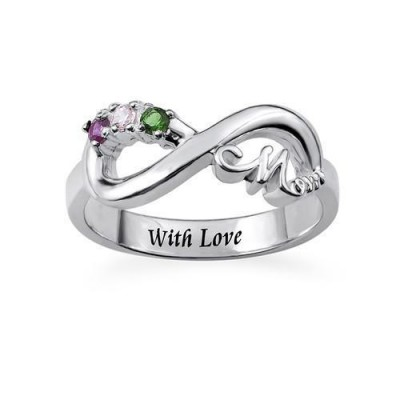 Engraving Infinity Birthstones Mom Ring