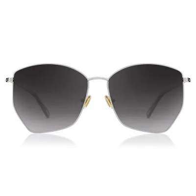 Geometric Sunglasses With Black Lenses And Silver Frame