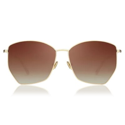 Geometric Sunglasses With Brown Lenses And Golden Frame