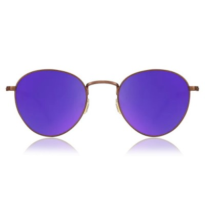 Round Sunglasses With Purple Lenses And Coffee Frame