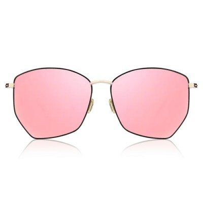 Geometric Sunglasses With Pink Lenses And Black Frame