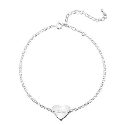 Personalized Heart Anklet Adjustable