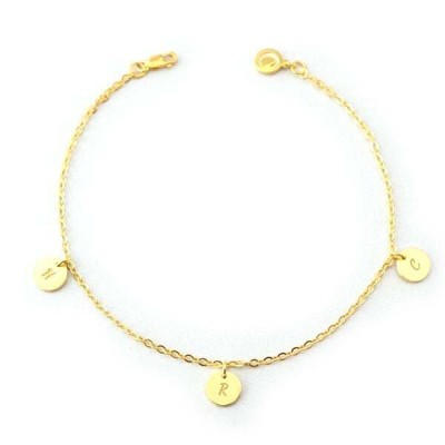 Personalized Initial Engraved Anklet Adjustable