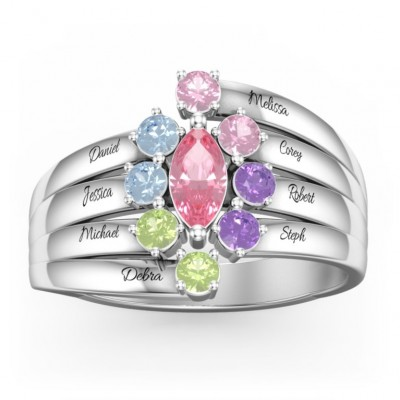 Personalized Customized Marquise Family Ring with 1-8 Birthstones