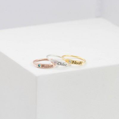 Stacking Name Ring in Sterling Silver