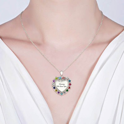 s925 Sterling Silver Heart Necklace With 1-15 Birthstones for Grandma