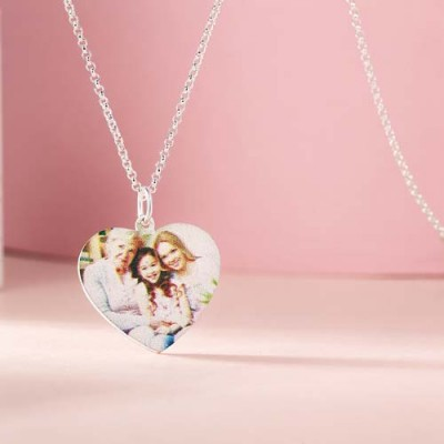 Heart Shape Personalized Color Photo Necklace