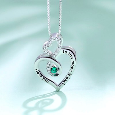 Custom Infinity Heart Birthstone s925 Sterling Silver Necklace