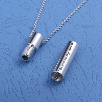 Custom Engraved Cylindrical Urn Necklace For Ashes