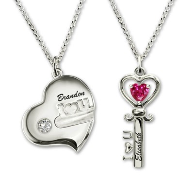 Couple's Key To My Heart Birthstone Necklace