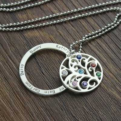 Filigree Family Tree Necklace with 1-7 Birthstones