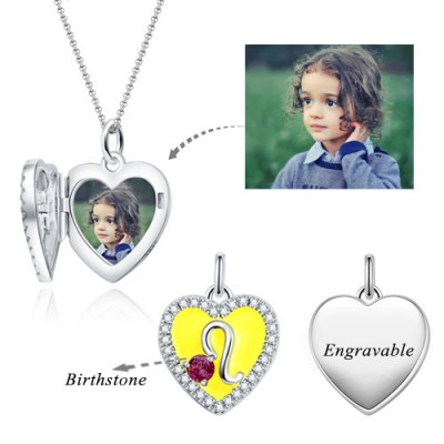Leo - Personalized Heart Photo  Necklace