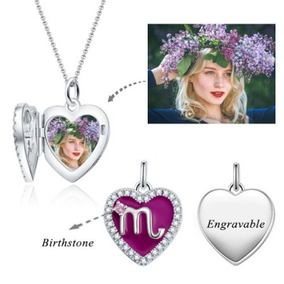 Scorpio - Personalized Heart Photo  Necklace