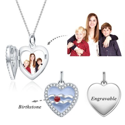 Aquarius - Personalized Heart Photo  Necklace