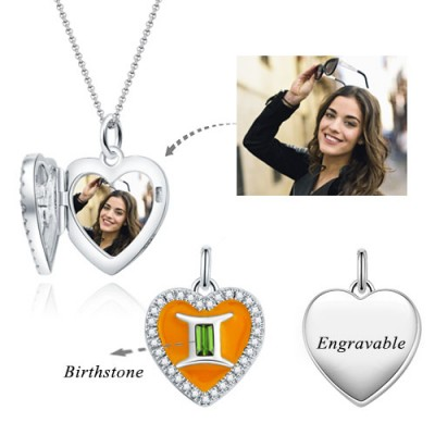Gemini - Personalized Heart Photo  Necklace